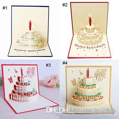 4 Styles 3D Card Birthday Cake Pop UP Gift Greeting Blessing Cards Handmade Paper Silhoue Creative Happy Christmas Send Virtual