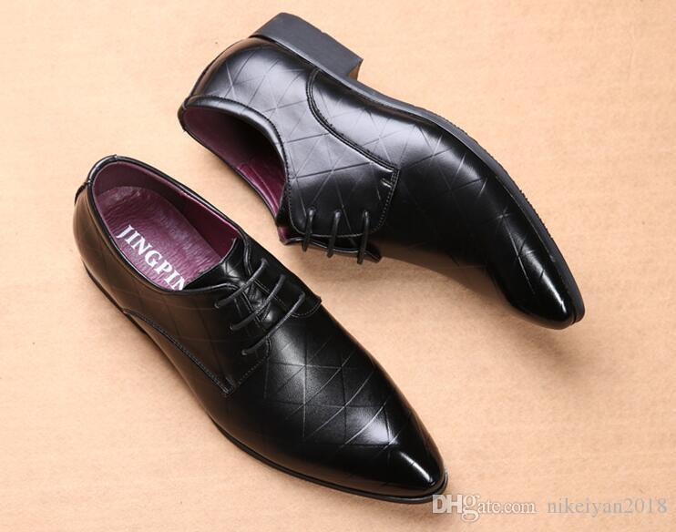 Men Dress Shoes check design Pattern Elegant Mens Formal Shoes Leather Classic Designer Suit Shoes For Wedding Party size 39-46