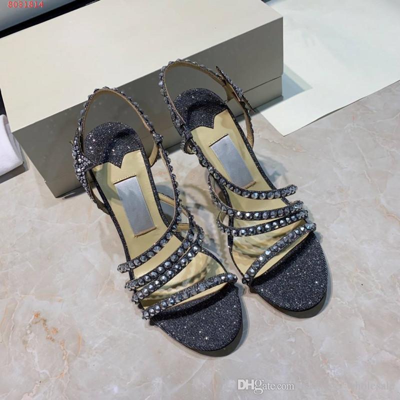 half off 45ed7 6762c hochwertige high heels frauen sandalen schuhe Diamant dekoration schwarz  und rosa grau High-end-benutzerdefinierte Hochzeitskleid Schuhe