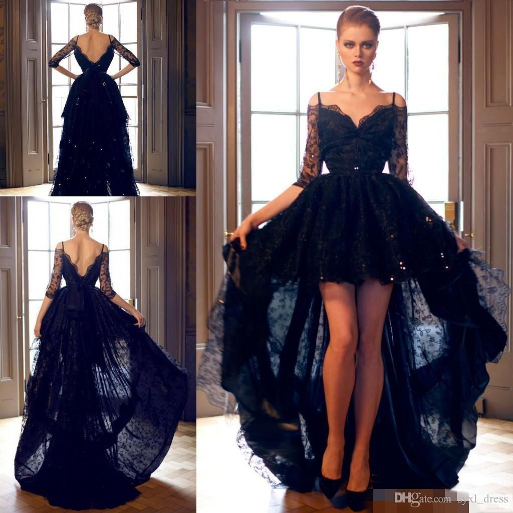 9f1f8adcd091 2018 Nigeria Black Lace Styles Mermaid Prom Dresses Evening Gown Formal  Dress Party Wear Special Occasion Dress High Low 1/2 Long Sleeves Designer  Party ...