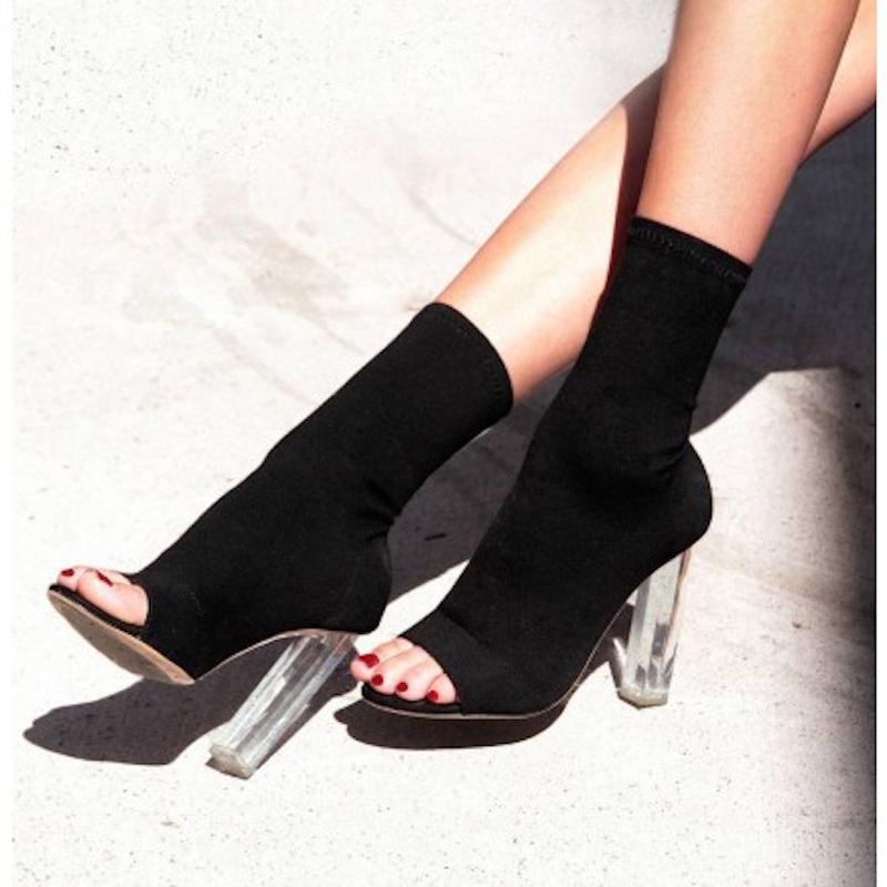 824c8689d Compre 2018 Novo Estilo Ocidental Verão Marca De Moda Sandálias Menina Sapatos  De Salto Alto Mulheres Sexy Senhora Peixe Boca Meia Botas Peep Toe De ...