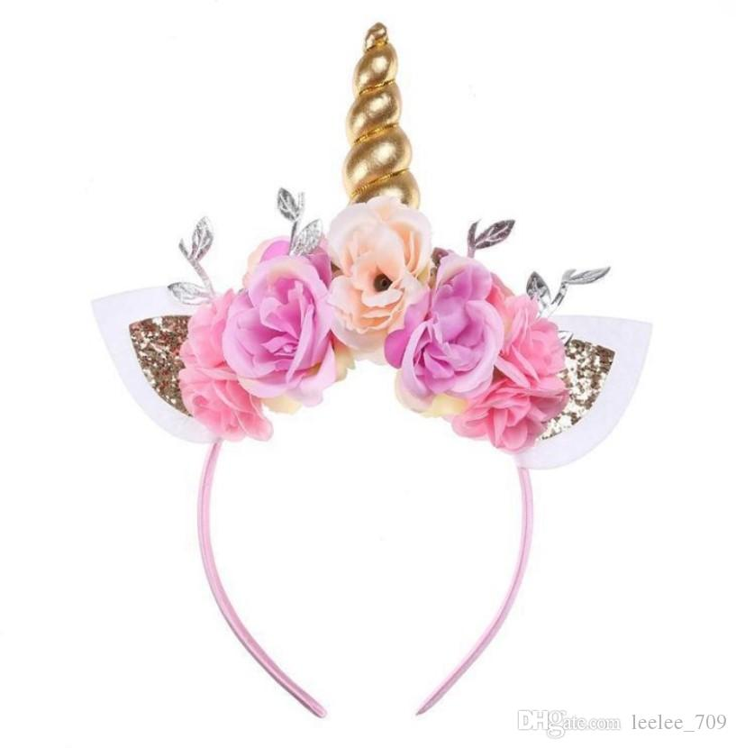 Gold Unicorn Horn Flower Crown Hair Stick Baby Girl Hair Accessory Unicorn  Costume Party Favors Little Girl Hair Accessories Wholesale Yellow Hair ... 2e719e27a21