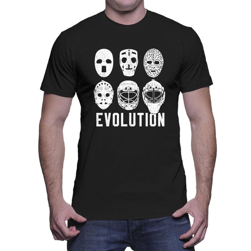 Evolution of Goalie Mask - Hockey Puck Ice Stick Skate Mens T-Shirt Summer Men'S fashion Tee,Comfortable t shirt
