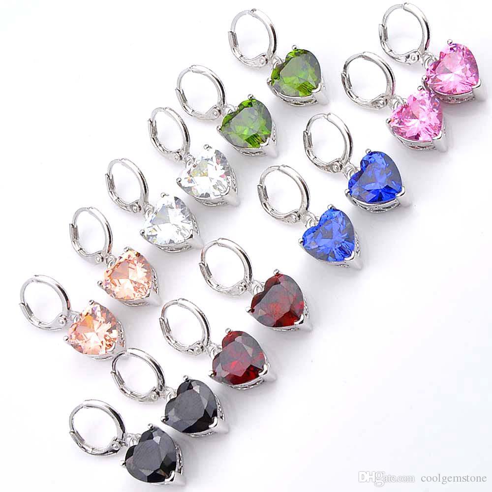 6620ea63b4e3 Luckyshine Wholesale 6 Pair mix Color 925 plateado plata en forma de  corazón de las mujeres Crystal Rhinestone cuelga los pendientes de la  joyería ...