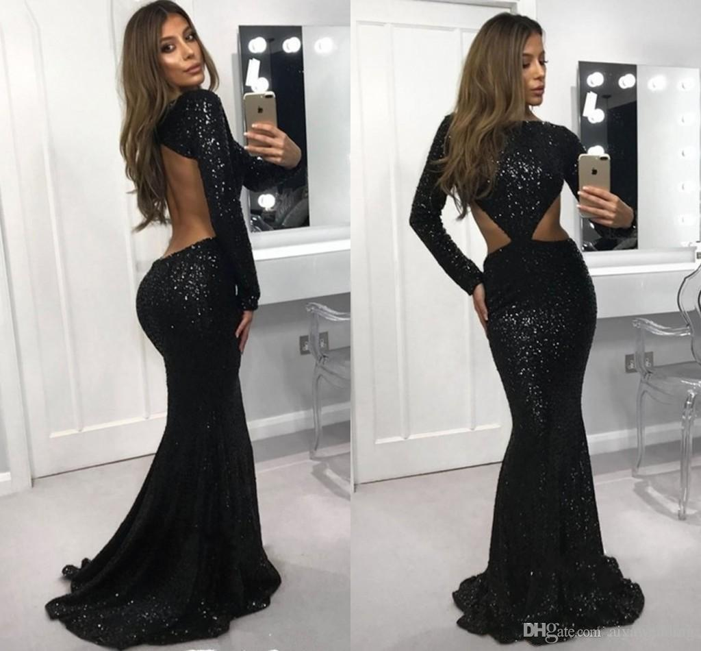 86ee43ecd29d9 Modest Sexy Black Sequins Prom Dresses 2019 Mermaid Long Sleeve Formal  Dresses Special Occasion Dresses Long Skirt Bateau Cutaway Sides Beautiful  Prom ...