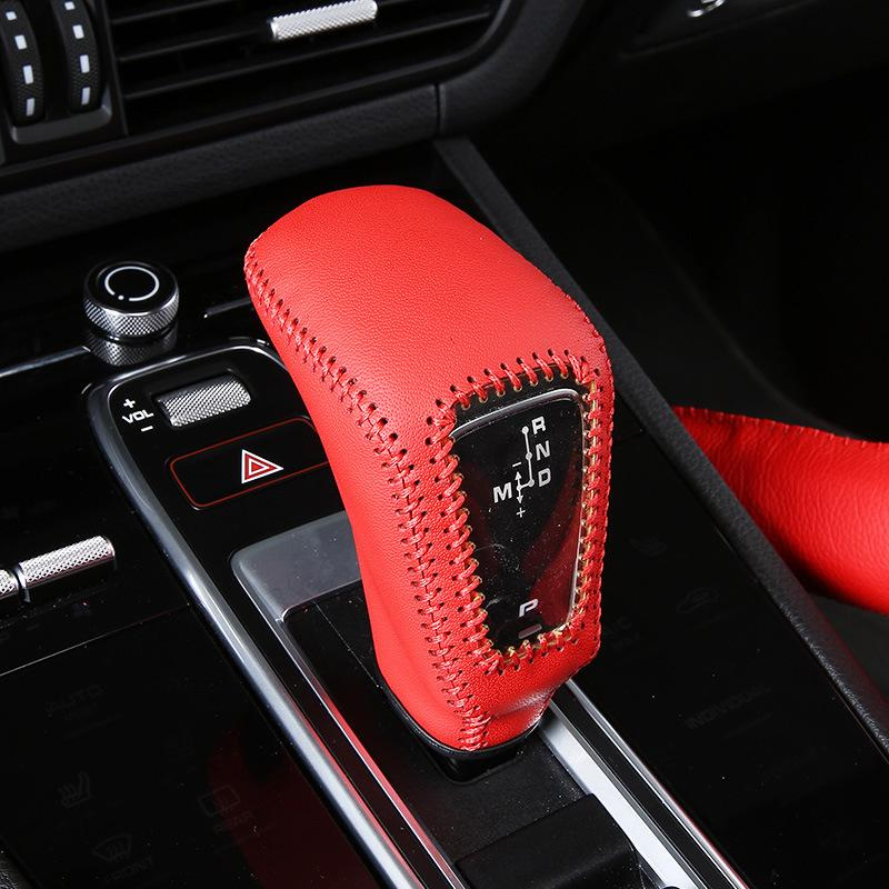 Genuine Leather Car Gear Shift Knob Cover Protection Case For