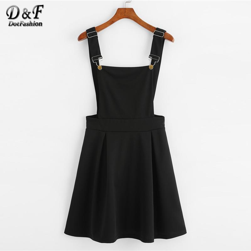 Dotfashion Button Pleated Zip Up Back Pinafore Dress 2019 Spring Fall Straps Sleeveless Dress Women Weekend Casual Short Dress S322