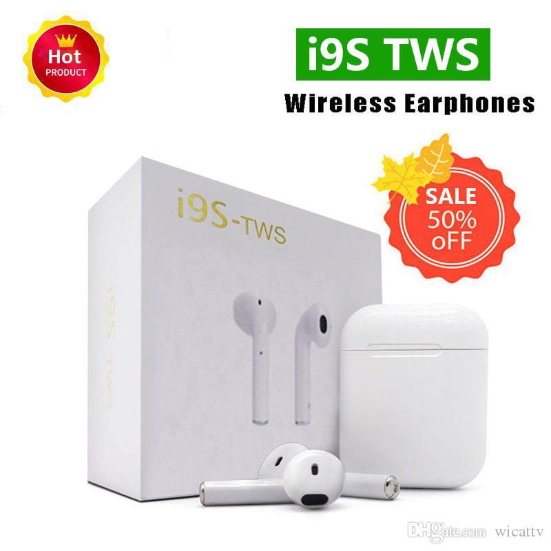 Mini I9S TWS Wireless Bluetooth sport Twins Earbuds Earphone Headset vs i7  i8x Charging Box For iphone X xs max samsung s8 s9 S10 Note9