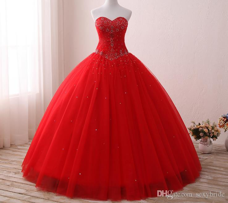 2019 Cheap Shiny Rhinestone Ball Gown Quinceanera Dresses Red Sweetheart Tulle Floor Length Sweet 16 Dress Corset Crystals Prom Party Dress