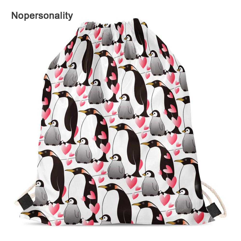 5c0f9c71d8af Nopersonality Novelty Heart Pattern Penguin Drawstring Bag Portable Women  Kids School Backpack Lightweight Travel Storage Bags