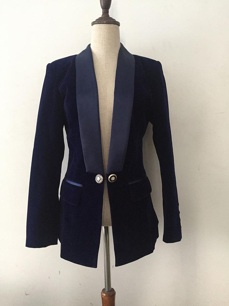 0700c0aa 2019 Negro zafiro azul oscuro con cuello en V delgada chaqueta de traje de  terciopelo verano otoño primavera invierno Sexy fiesta de noche Bodycon ...