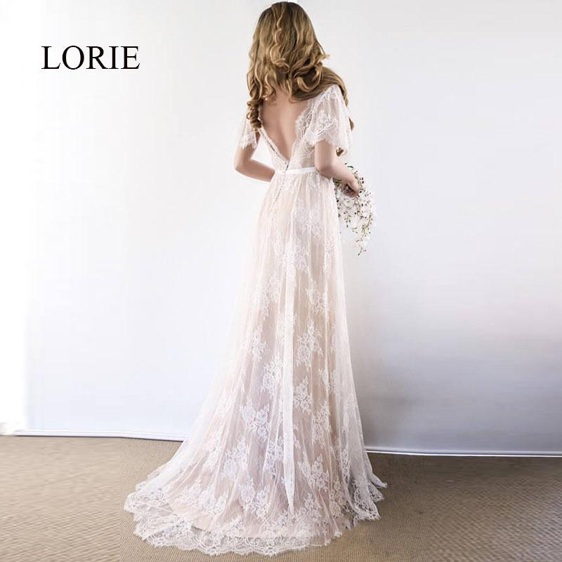 Lorie Boho Wedding Dress 2019 V Neck Cap Sleeve Lace Beach Wedding Gown Cheap Backless Custom Made A-line Bride Dresses Y19072901