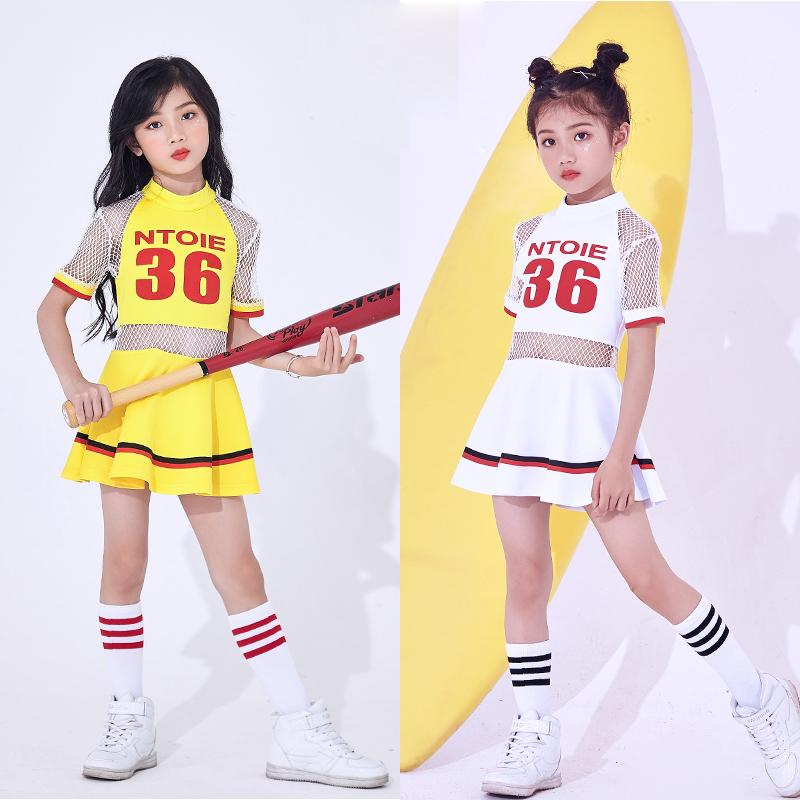Hip Hop Dance Costumes Kids Jazz Dance Child Costume Short Sleeve Cheerleader Dress Girls Dancing Clothes Stage Wear DNV10138