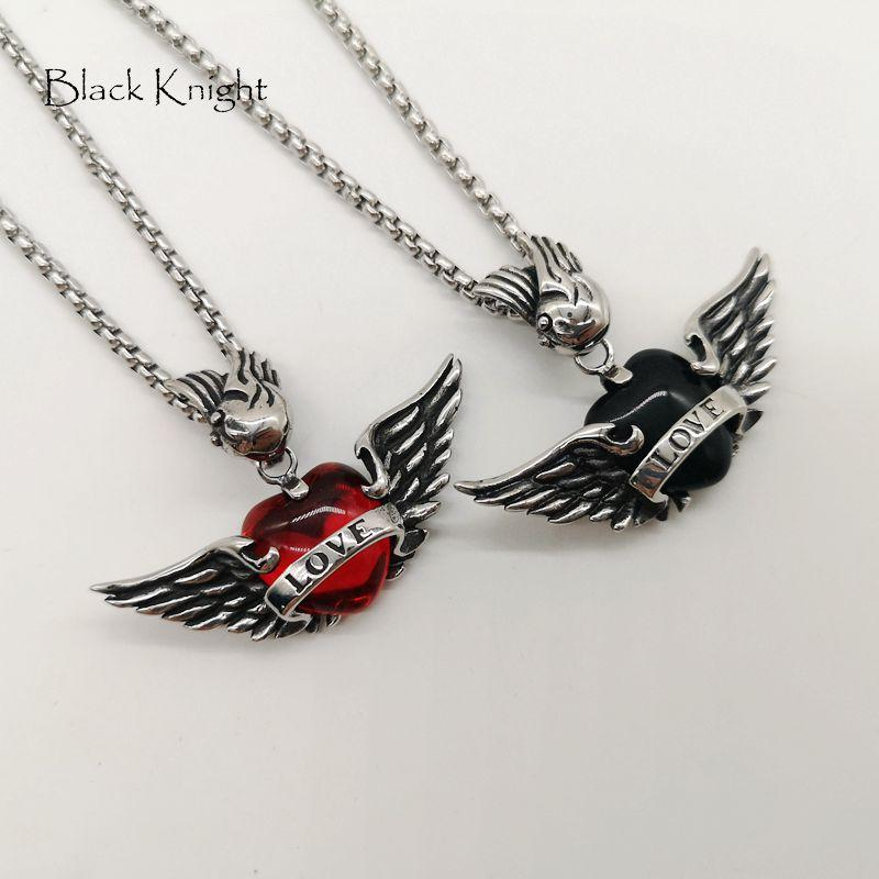 Black Knight Romantic Wings red LOVE heart pendant necklace Antique Silver Stainless steel Angel wings heart necklace BLKN0767