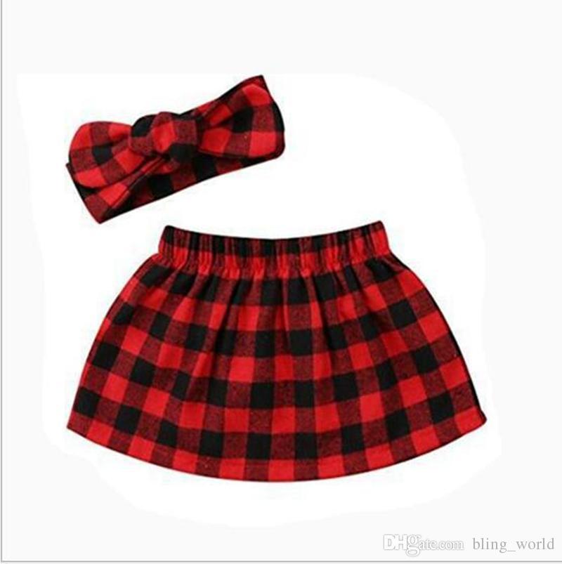 306cb0e4e7 2019 Girls Red Plaid Skirt Newborn Baby Skirts Headband Set Fashion Casual  Dresses Photography Prop Skirts Dress Kids Clothes YL955 From Bling world