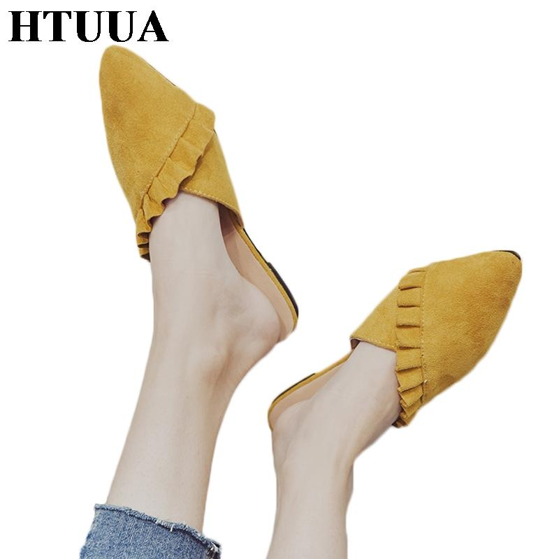 HTUUA New 2018 Women Slippers Summer Shoes Slip On Flat Mules Fashion Ruffles Ladies Shoes Loafer Flip Flop Sandals SX1311