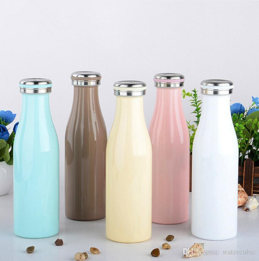 2019 Hot Selling 17OZ stainless steel milk bottle Vacuum Insulated water bottle Macaroon color for kid kettle Drinkware Christmas Gift