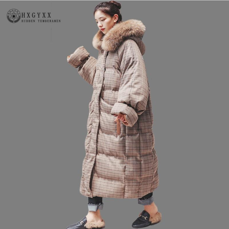 0c7824b2b98 2019 2018 Long Winter Jacket Women Quilted Coat Plus Size Plaid Hooded  Parka Female Fur Collar Thick Warm Cotton Outwear Korea Okd621 D19011602  From Tai03