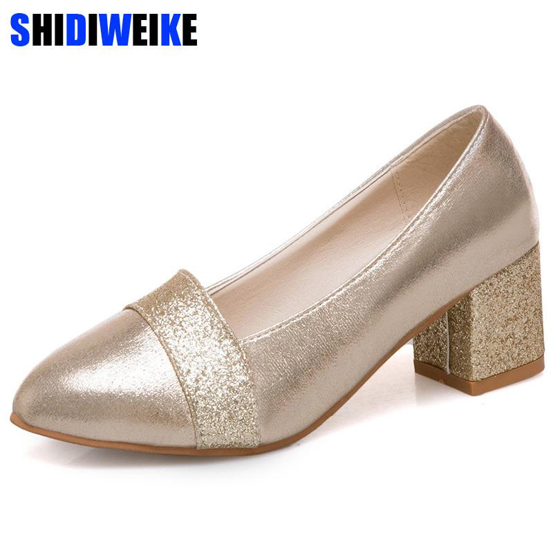 43ccaad20262 2019 Women Pumps Sweet Style Square High Heel Sequins Pointed Toe Spring And  Autumn Elegant Shallow Ladies Shoes Size 34 41 N166 Navy Shoes Driving Shoes  ...