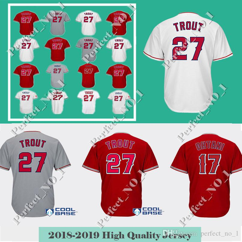 967a7e5005c 2019 Men S 27 Mike Trout 17 Shohei Ohtani Baseball Jersey Mike Trout  Embroidery Stitched Top Quality Red White Jerseys Fast From Perfect no 1
