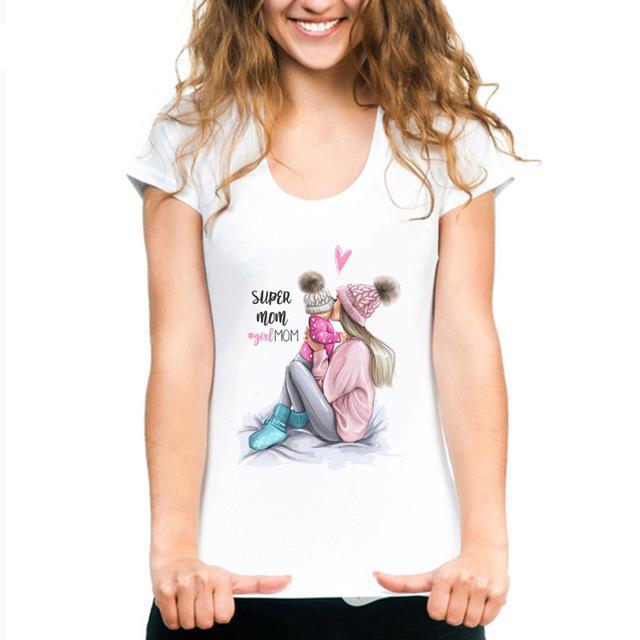 Vêtements De Mode Arrivée Tee Maman T Femme Kawaii 2019 Super Coréen Shirt Harajuku Nouvelle Blanc Mère 534AqRjL