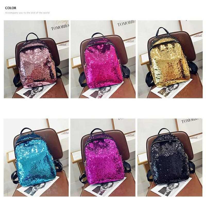 Luxury Fashion womens Sequin School Backpack Fashion Backpack Shining Sequin Design Teenagers School Bags Zipper Travel Casual Mid Backpacks