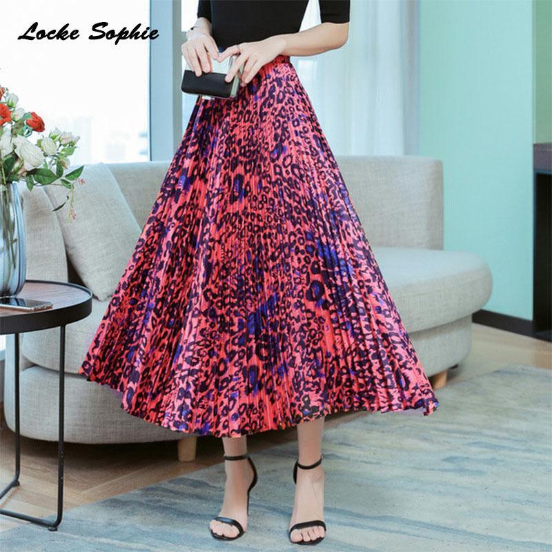 2f716baad1b9fb Jupes taille haute Jupes plissées pour femmes 2019 Summer Fashion imprimés  en coton mélangé Jupe plissée Femme Casual