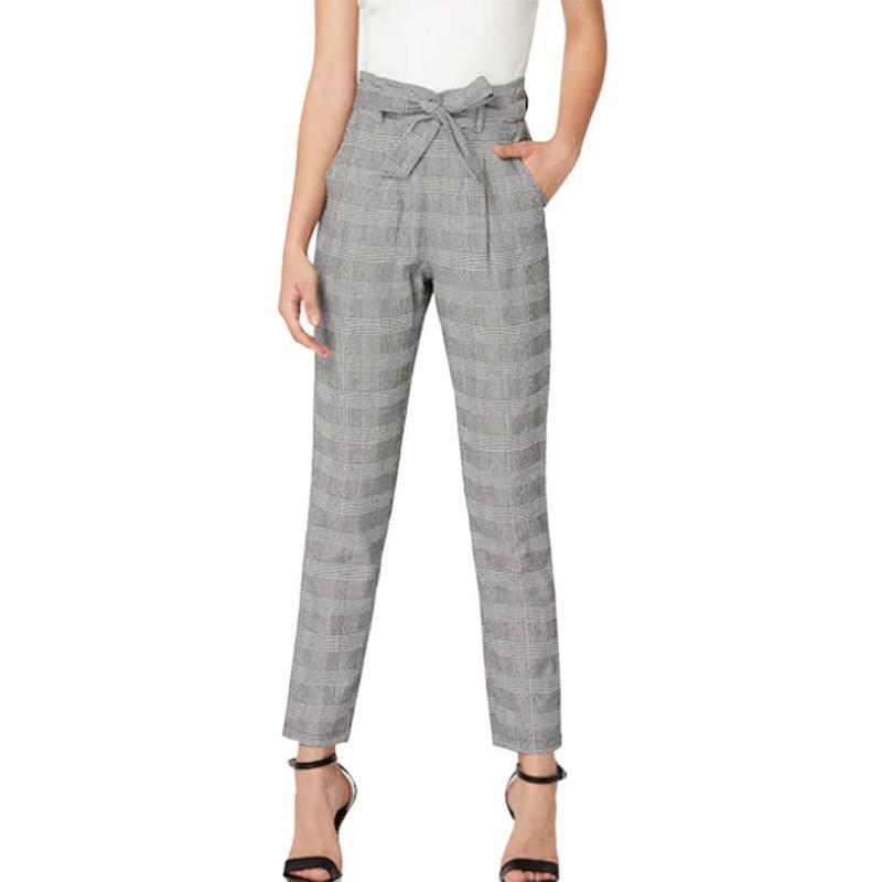 f4c865dfd2 Compre Estampado A Cuadros Pantalones Harem De Mujer 2019 Fashiom Casual  Capris Cintura Alta Verano Cinturón Pantalones Largos A  23.09 Del  Ladylbdcloth ...