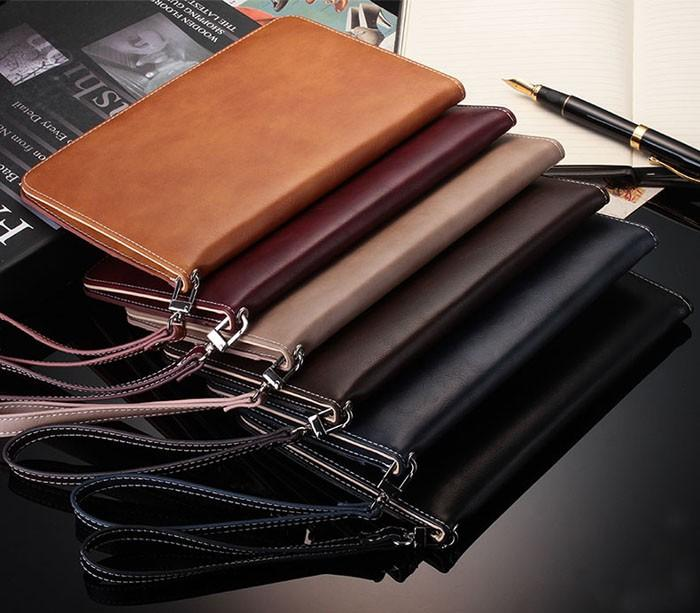 "New Grade Retro Business Hand Strap Leather Case for ipad mini1/2/3 2/3/4 ipad2018/air/air2 ipad pro/9.7"" Handheld Stand Card Smart Cover"