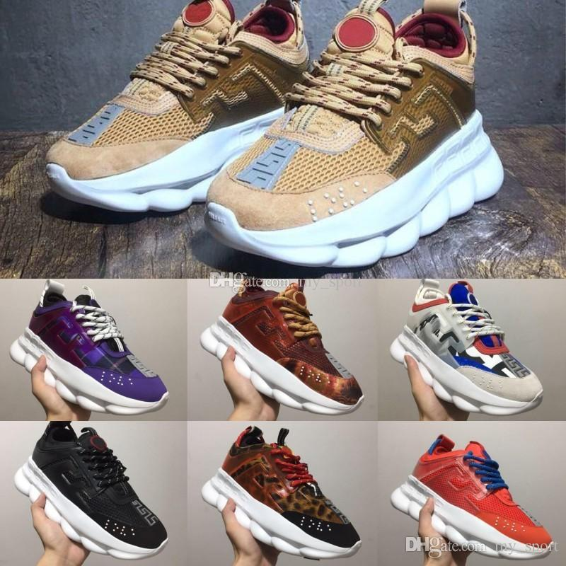 2019 Chain Reaction Men Women Luxury Designer Shoes Best Quality Fashion Trainers Sneakers Casual Shoes With Dust Bag