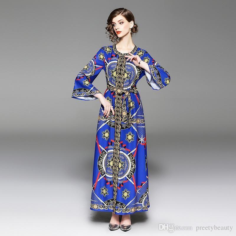 54f3f1834cbf9 Long Elegant Even Dress Party Maxi Evening Dress Women Runway Dresses Long  Sleeve Vintage Court Print Tunic Dresses Fashion