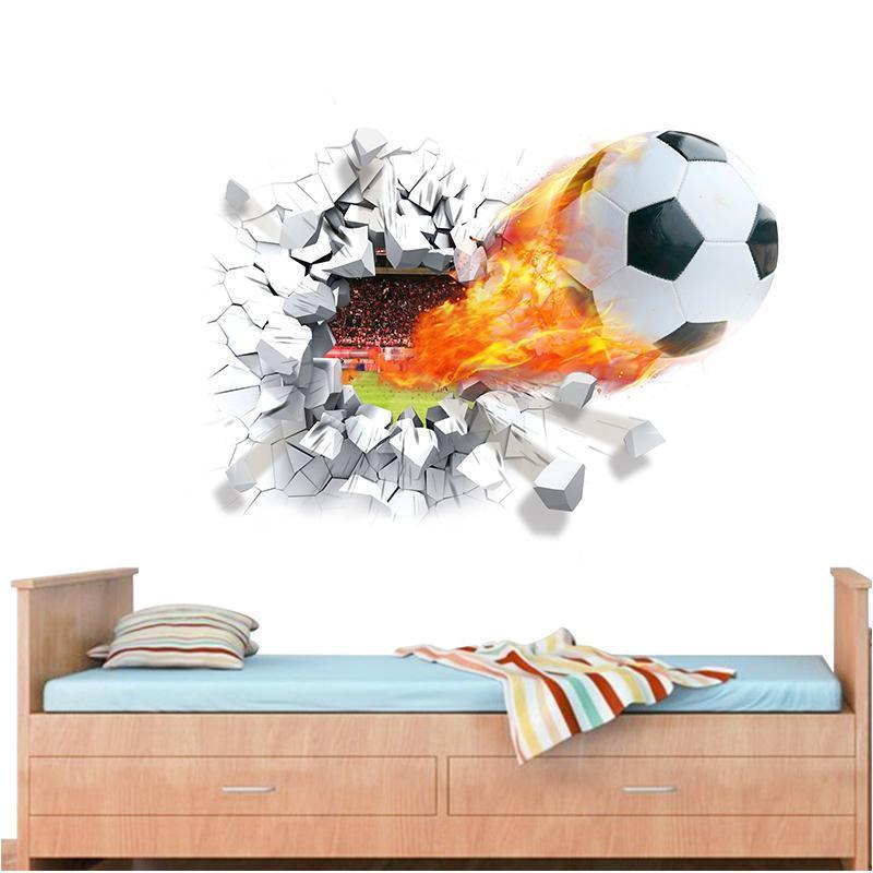 firing football through wall stickers for kids room decoration home decals soccer funs 3d mural art sport game pvc poster D19011702