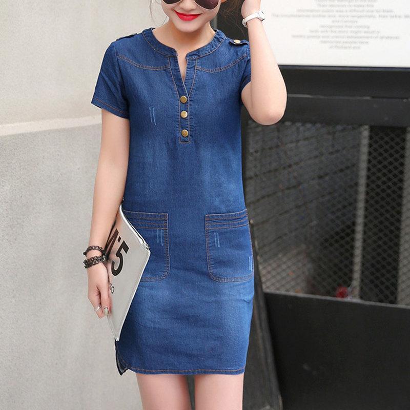 info for c12d7 88e0b New Summer Dress Donna Jeans Abiti casual a maniche corte Taglie forti  Abito scollo a V in denim