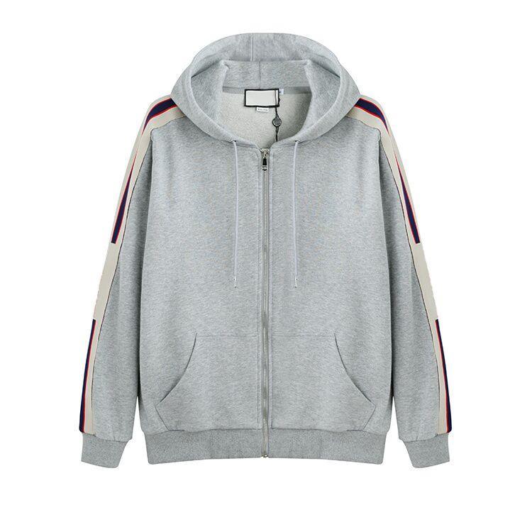 Gris Italie Designers Marques de mode Nouveaux hommes SWEAT À CAPUCHE ZIPPÉ AVEC logo STRIPE Hoodies Homme Sweat shirts homme vêtements