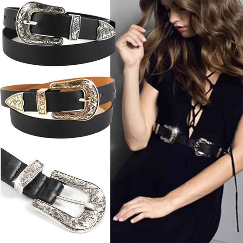 Damen-accessoires Damen West Gürtel Hip Hohe Taille Breit Schwarzer Stoff Silber Metallschnalle