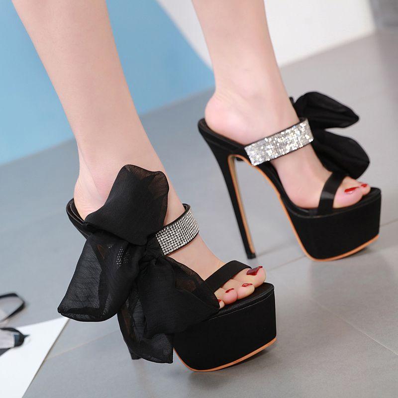 6bfa74c0d36 crystal Sandals high heels summer shoes slippers platform Rhinestone  Sandals female High-heeled Shoes high slippers women YMA744
