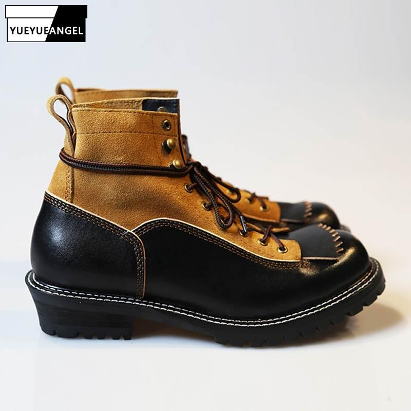 a8fa5b02323c Handmade Quality Ankle Boots Men 100% Real Leather Lace Up Work Shoes  Italian Patchwork Designer Platform Vintage Martin Botas Pumps Shoes Shoe  Boots From ...