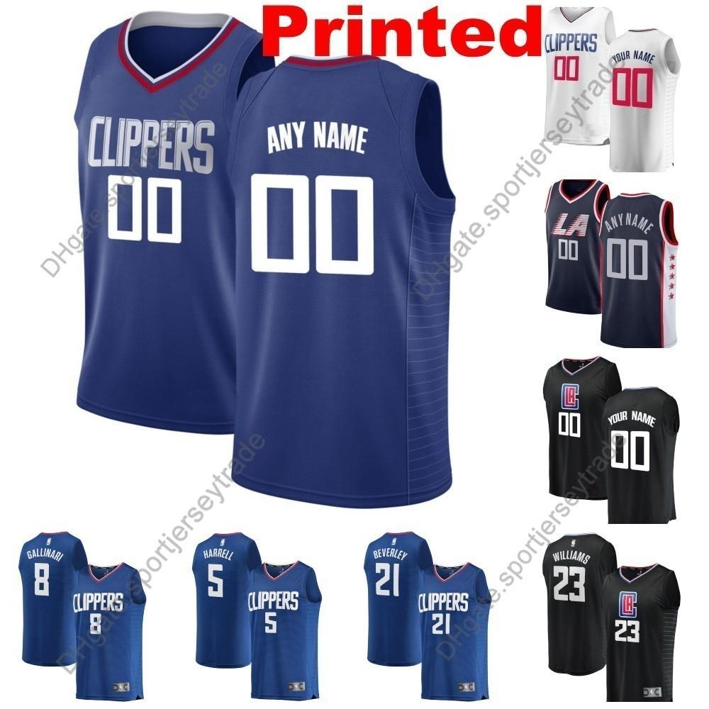 new product 18122 85770 2019 Printed Men LA City Clippers Lou Williams 23 Montrezl Harrell Danilo  Gallinari Landry Shamet Zubac Gilgeous-Alexander Basketball Jersey