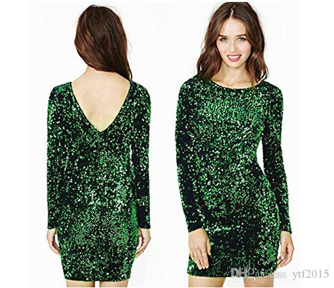 4e9b5344de Green Sequin Dress Women Sexy Club Dresses 2019 Slim Fit Backless Bodycon  Party Nightclub Mini Vintage Dress vestido lentejuelas