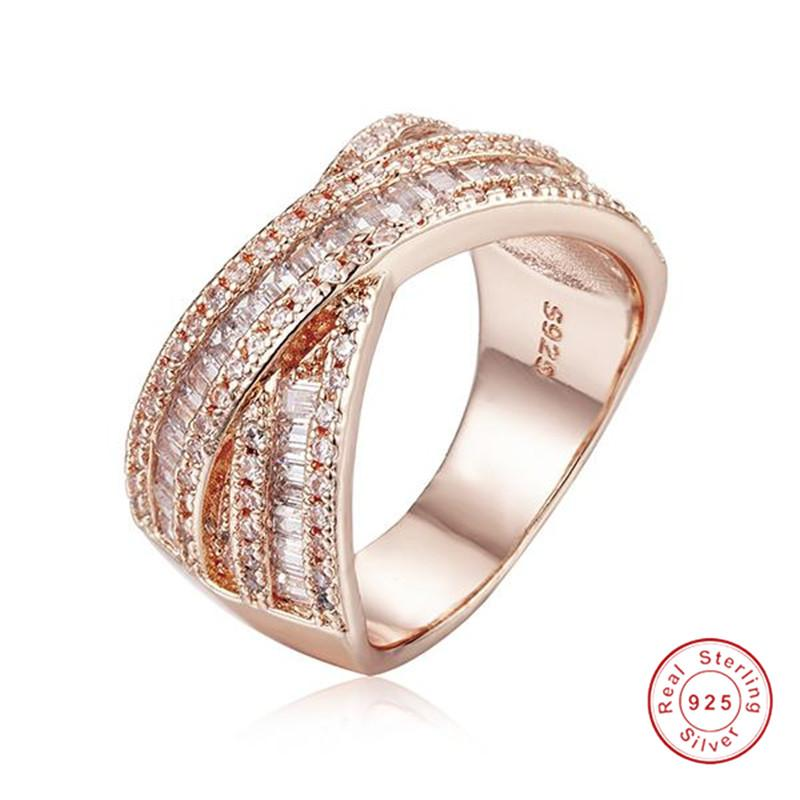 Big Sparkling Cross 925 Silver&Rose gold ring Luxury Princess-cut Simulated  Diamond rings Cocktail Wedding Rings For Women gift