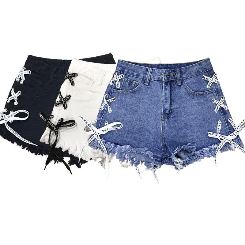 a3d879aac03c 2019 2019 Summer New High Waist Side Straps Denim Shorts Female A Word Wide  Leg Pants Raw Hot Pants From Piggyy, $20.47 | DHgate.Com