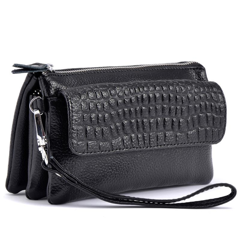 Female 2019 Cowhide Split Leather Wallet Women Cosmetic Phone Clutch Hand Shoulder Bags Ladies Zipper Card Holder Purse Wallets
