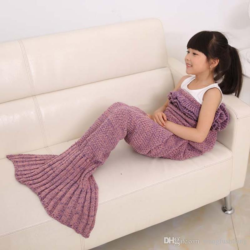 4 Colors Yarn Knitted Mermaid Tail Blanket Super Soft Sleeping Bed Handmade Crochet Anti-Pilling Portable Mermaid Blankets