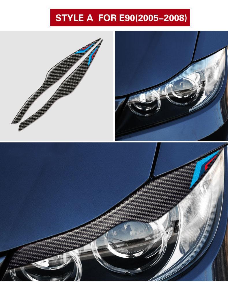 Carbon Scheinwerfer Augenbrauen Augenlider Auto Aufkleber Für Bmw E90 Frontscheinwerfer Augenbrauen 3 Serie 2005 2012 Aufkleber Aufkleber