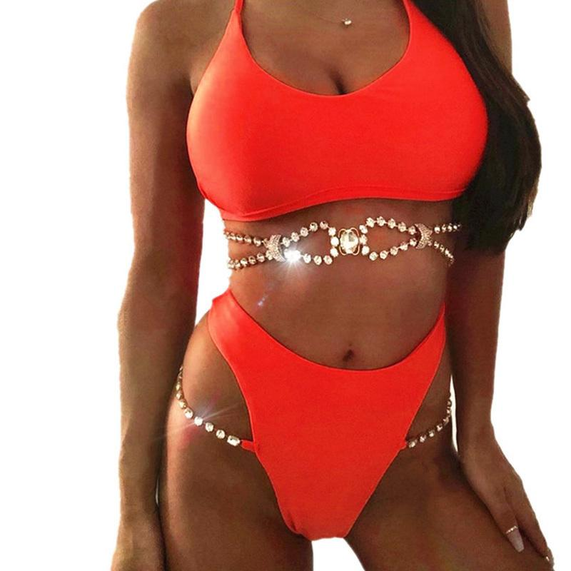 2019 Summer Two Piece Set Women Sexy Bikini Diamond Swimwear Female Matching Sets Metal Chain Bandage High Waist Women Suits Set