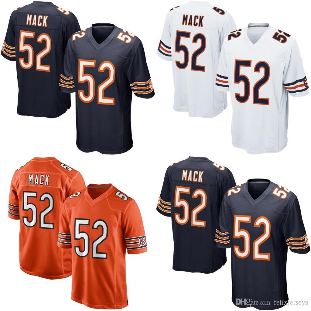 pretty nice 68eaf ba7ec Mens Women Youth Chicago 53 Khalil Mack Football Jersey Double Stiched  Jersey Bears White Navy Orange