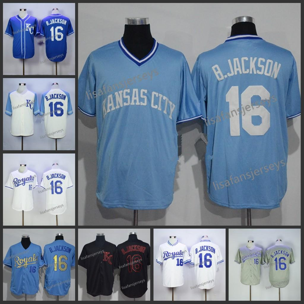 new product 753fc 22e39 High quality Mens 16 Bo Jackson Button Baseball Jerseys Home Away Road  Embroidered Navy Blue White Gold Grey orange Stitched baseball jersey