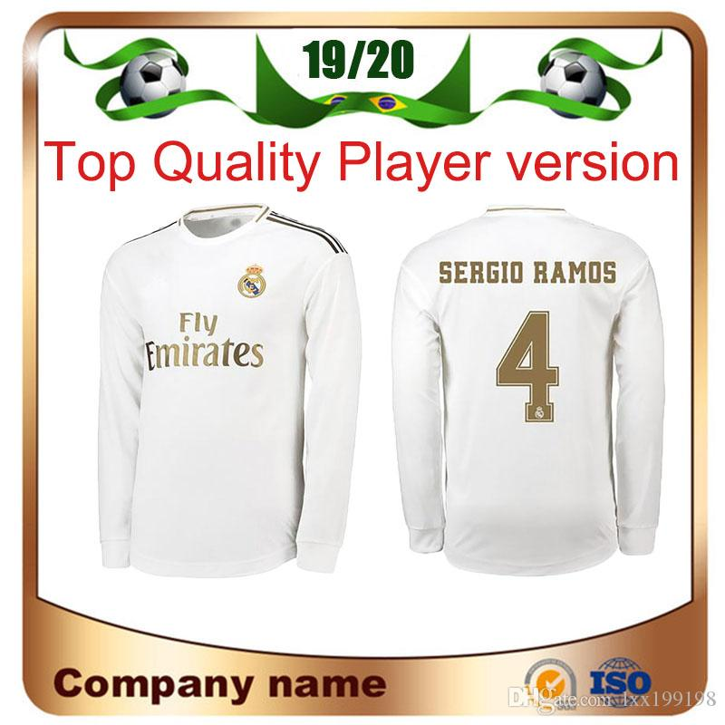 19/20 Real Madrid Player version Long Sleeve Champions League HAZARD Soccer Jersey 2019 Home RAMOS KROOS ISCO ASENSIO MODRIC football shirt