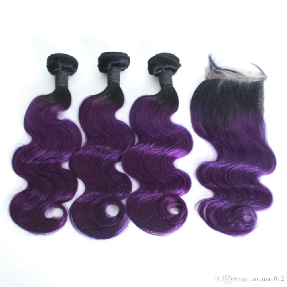 Ombre Body Wave Human Hair Bundles With Lace Frontal Closure 1B/27 1B/30 1B/Purple 1B/99J Ombre Hair With Closure