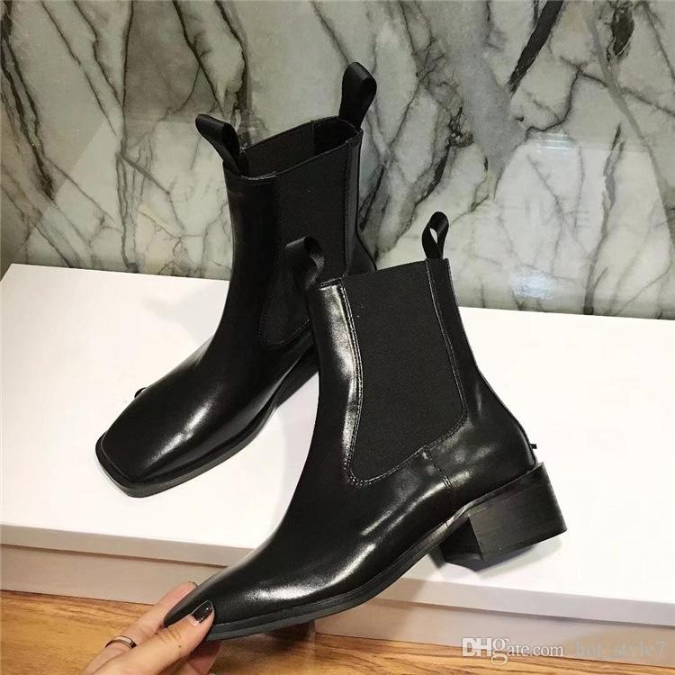 Popular Woman Square Toe Elastic Band Slip On Martin Boots New Style Comfortable Thick Bottom Short Boots Low Heel Black High Tube Boots